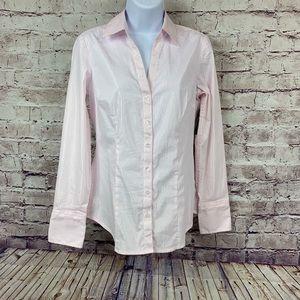 Express Essential Stretch Pink Button Front Shirt